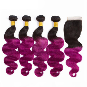 10-26inch 130% density Ombre T1B purple color body wave straight 100% human hair bundle Remy hair with 4*4 closure swiss lace heat resistant