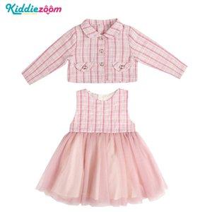 2020 Dresss Sets 2PCS Cotton Full Sleeve Children Dress Patchwork Mesh Lattice Botton Girls Clothing Q1118