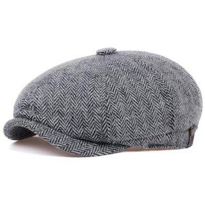 Winter Peaky Blinders Flat Cap Wool Vintage Octagonal Hat Man Cabbie Hat Ivy Ear Cap Irish Hunting Ear Flap Male Newsboy