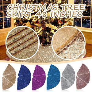 Sequin Christmas Tree Skirt Christmas Ornament For A 48-inch Tree Skirt Floor Mat Ornaments New Year Decor