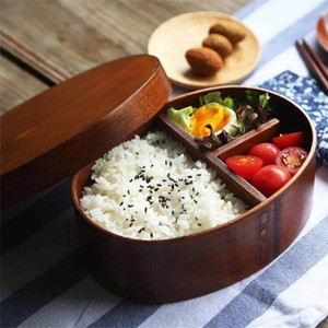 Japanese Bento Box 3 Lattices Wooden Oval Shape Lunch Boxes Single Layer Food Containers For Home Office School Picnic 33 99pt E1