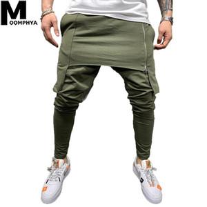 MOOMPHYA 2019 Nouvelle fermeture à glissière à double fermeture Hommes Joggers Pantalons Streetwear Hip Hop Hark Pantalons Homme Hommes Pantalon Personnel Skinny Pantalons Hommes 1120