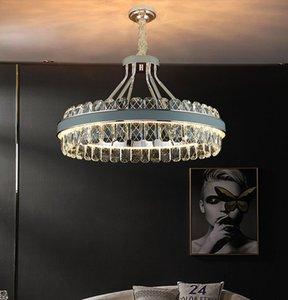 Postmodern  K9 Crystal Chandelier Lighting Nordic Living room Hanging lights Dining room Bedroom LED leathe Decor fixtures