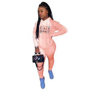 Women Black Smart Letters Tracksuit Designer Hooded Hoodies Trousers Outfit Two Piece Clothing Set Sweater Legging Pants Suit S-3XL E112305