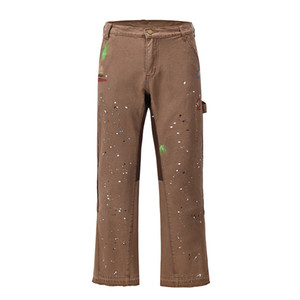 Graffiti pintado de pierna ancha Pantalones de flarina para hombre Streetwear Straight Jeans casuales Harajuku Lavado retro Pantalones de mezclilla sueltos