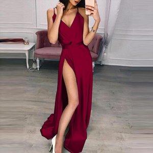 Women Long Silk Dress Ladies V Neck Solid High Waist Party Dresses Summer Spaghetti Strap Sexy Split Maxi Dress