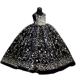 Kids Wedding Party Dresses for Girls Children Sequins Ball Gowns Pink Black Sundress Baby Infant 1 year girl baby birthday dress F1130