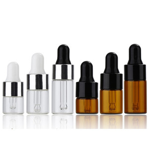 1ml 2ml 3ml Mini Glass Dropper Bottle Clear Amber Small Glass Sample Bottles with Black Silver Cap For Perfume Cosmetic E-liquid WB3403