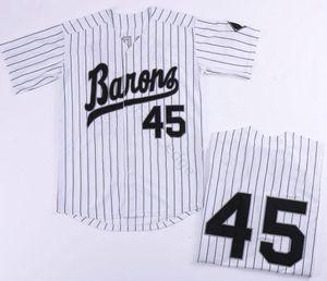 도매 망 마이클 45 버밍엄 Barons 야구 유니폼 화이트 그레이 스티치 영화 Michael Birmingham Barons 레트로 남자 야구 셔츠