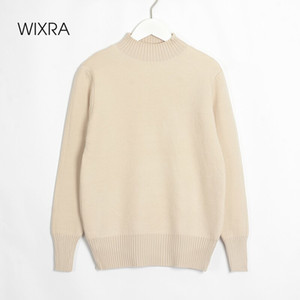 Wixra Womens Knitted Pullover Sweater Ladies Long Sleeve Thick Warm Velvet Basic Jumpers Autumn Winter Stylish Turtleneck Tops 201123