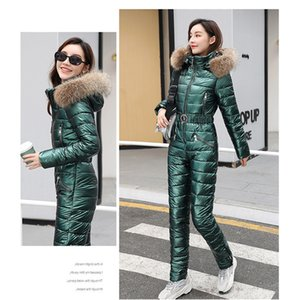 2020 Women Winter Ski Suit Plush Hoodie Collar Pockets Zipper Cotton Jumpsuit Ski clothing Fashion Casual Sports Cotton Clothing Z1128