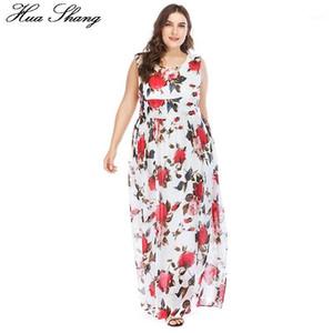 Huashang Baskı Kadınlar Boho Sundress Büyük Boy Beyaz Çiçek Tankı O-Boyun Bel Bağları Zarif Uzun Bohemian Beach Şifon Maxi Dress1