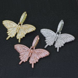 Iced Out Animal butterfly Bling Cubic Zircon Pendant Necklace With Cuban Chain Gold Silver Men Women Hip hop Rock Jewelry