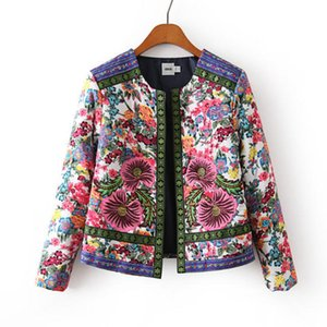 China National Style Women's Winter Jacket Flower Embroidery Coat Female Autumn Printing Jacquard Woven Women 's Cotton JacketZ1127