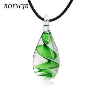 Boeycjr 5 renkler roman cam kolye kısa zincir el yapımı etnik quicksand su damlası kolye kolye erkekler ve kadınlar için