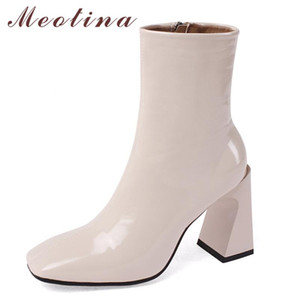 Meotina Real Leather Super High Heel Short Boots Women Shoes Square Toe Strange Style Heel Zip Ankle Boots Lady Autumn Winter 40