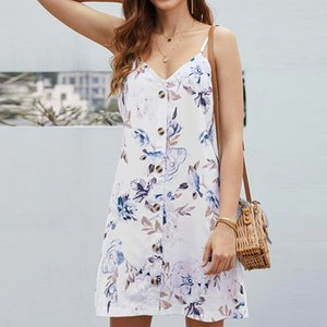 New Womens Dress Summer Strapless Floral Printed Casual V-neck High Waist Spaghetti Strap Boho A-Line Dress