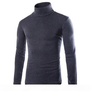 Men's tops Turtleneck Knitted Pullover spring Autumn Slim Fit Elastic Homme Solid sweaters Mens knitwear New Basic Style