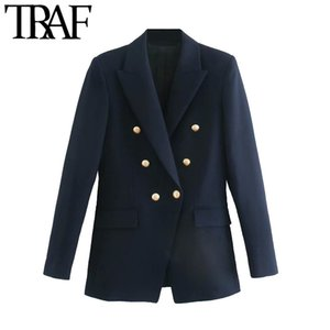 TRAF Women Fashion With Metal Buttons Blazers Coat Vintage Long Sleeve Back Vents Female Outerwear Chic Tops X1214