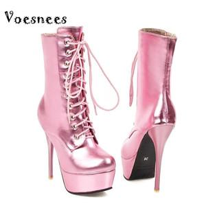 Voesnees Court Bottes Femme 2020 Nouveau Mode Pointu Talons 13.5cm Stiletto Chaussures grande taille lacent automne et bottes d'hiver