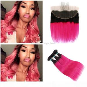 Rose Red Ombre волос с кружевом Фронтальная Закрытие Two Tone 1b Red переплетений человеческих волос с кружевом Фронтальная Закрытие Silky Straight наращивание волос