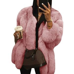 Winter Coat Women's Fashion Solid Faux Fur Jacket Coat Outwear Long Sleeve Tops Female Jacket Warm Thick Parka Outwear