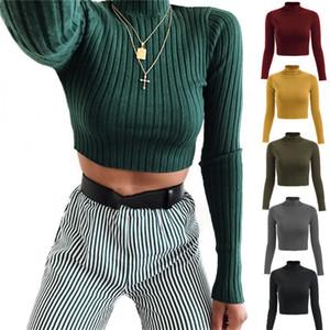 Kadınlar Bayanlar Kabuk Örme Mahsul Kazak Kırpılmış Kazak Sıska Bluzlar Katı Tişörtü Hip Hop Bar Kulübü Parti Kumaş Tops LY120702