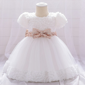 white Girl Dress Bow Christening 0-24M 1 Years Baby Girls Birthday Dresses for infant the party princess Z1214