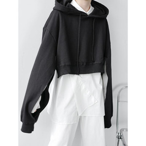 New Men's Sleeve Slit Short Style Pullover Loose Hoodie Male Women Harajuku Streetwear Hip Hop Vintage Casual Hooded Sweatshirt