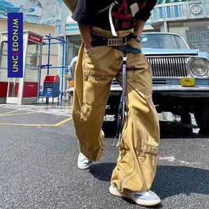UNCLEDONJM Multi Pocket overalls men's loose straight pants patchwork jeans mens street wear hip hop jeans 20216