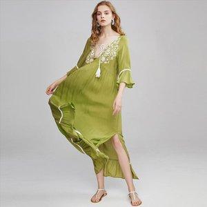green tunic dresses women vestidos vintage floral embroidery v neck flare sleeve tassel summer dress beach maxi dresses