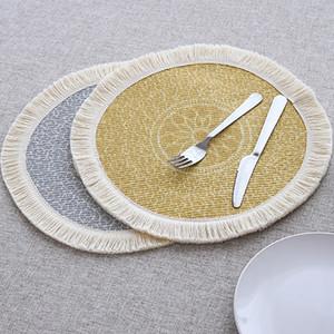 Placemats redondos establecidos para 2 piezas de algodón tejido 33x33cm placas florales para comedor con borlas con flecos lavado de 13 pulgadas Mapa de mesa C1212