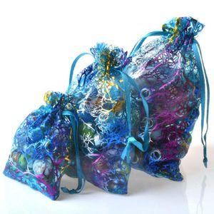 100PCS Hot Stamping Coral White Bottom Beam Pocket Wedding Drawstring Bag Organza Snow Yarn Jewelry Bag