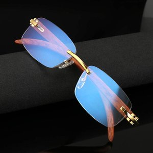 Luxury-Wooden leg Reading Glasses Women Anti Blue Light Computer Rimless Glasses Men Women's Golden Readers Presbyopic Eye