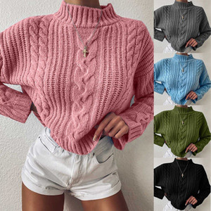 E-Baihui 2020 New Winter Women's Knitted Tops European and American Casual Loose Sweaters High-necked Long-sleeved Sweaters KY037