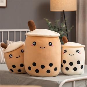 35cm Cute Cartoon Bubble Tea Cup Shaped Pillow Plush Toys Lifelike Stuffed Soft Back Cushion Funny Boba Food Toys for children 201214