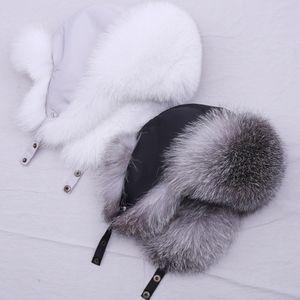 SupPevsttdio 100% de chapéu de pele real para mulheres natural prata raposa pele russo urshanka chapéus inverno espessura espigas quentes moda Bomber Cap LJ201225