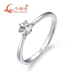 925 sterling silver moissanite ring 4mm round DF color stone 6claws ring for wedding diamond ring Z1121
