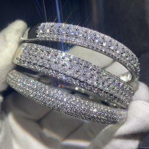 Sparkling New Arrival Luxury Jewelry 925 Sterling Silver Fill Pave White Sapphire CZ Diamond Women Wedding Bangle Finger Bracelet Gift
