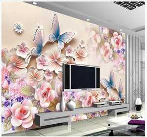 Custom photo wallpaper 3d wall murals wallpaper Modern flower relief mural TV background wall decoration painting for living room