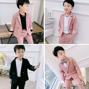 Children's Girl Casual Suit Dress Clothes New Pink Blazer Sets For Little princess and Black Boys Suit Travel Clothing Suits Y1117