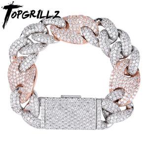TopGrillz Miami Lock Clasp Cuban Link 7 8 9 polegadas de ouro prata prata pulseira gelado fora cúbico zircão bling hip hop para homens jóias y1125