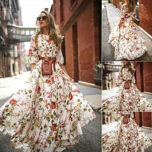 New 2019 Women Autumn Casual Boho Flower Long Dress Long Sleeve Evening Party High Waist Dresses