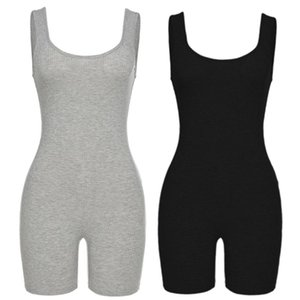 Women Sexy One Piece Sleeveless Jumpsuit Ribbed Knit Backless Biker Shorts Bodycon Bodysuit Tank Top High Waist Rompers Q1123