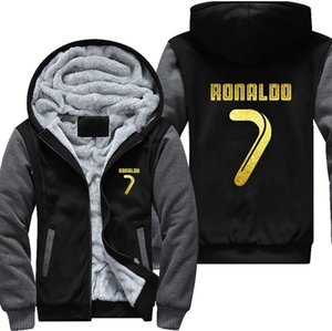 521 USA size New Arrival Men Hoodies CR7 Cristiano Ronaldo Man's Design Male Jacket Thicken Fleece Zip up Tops Plus size Y1112