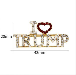 Trump Brooch Pins Shining Rhinestone Letter Glitter Brooches Women Fashion Crystal Heart Pins Party Gift BWB1964