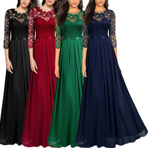 2020 new hollow sexy dress chiffon stitching lace long skirt bridesmaid evening dress women's clothing