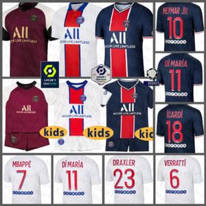 Jersey Paris Soccer Paris SaintChemise Germain Football 7 Mbappe Maillot de pied 10 Neymar Hommes 18 Icardi Kids Kits Di Maria Uniformes