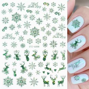 Autocolantes de unhas de Natal Auto adesivo Adesivos Sparkly Adesivos 3D Snowflake Slider Christmas Ano Novo Presente Nail Folha Dicas Manicure Dicas