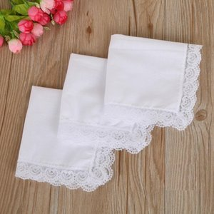 Christmas gift White Lace Thin Handkerchief Woman Wedding Gifts Party Decoration Cloth Napkins Plain Blank DIY Handkerchief 25*25cm OWD3305